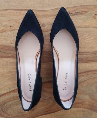 zapatos tacón ante negros 37