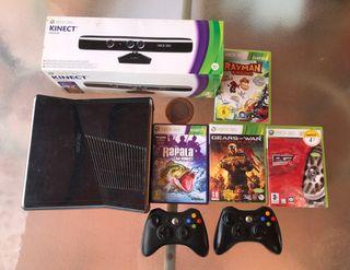 Xbox 360 + kinect sensor + 4 juegos + 2 mandos