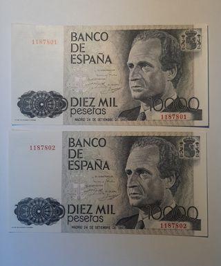 Billetes de 10000 pesetas año 1992, sin serie