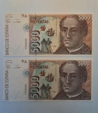 Billetes 5000 pesetas año 1992, sin serie