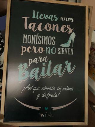Cuadro cartel fiesta boda tacones
