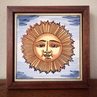 Baldosa o azulejo antiguo pintado a mano
