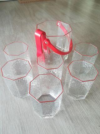 set vasos y cubitera