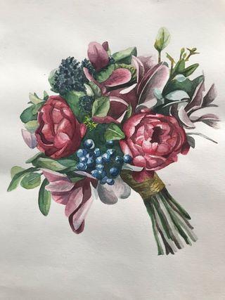 Acuarela original ramo de flores