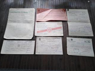 Recibos y otros documentos años 50-60. Franquismo