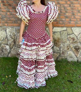Vestido de flamenca burdeos