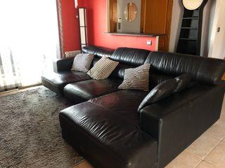 Sofa chaise longue cuero negro