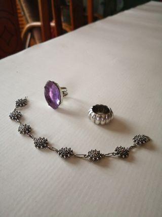 lote pulsera y anillos de plata