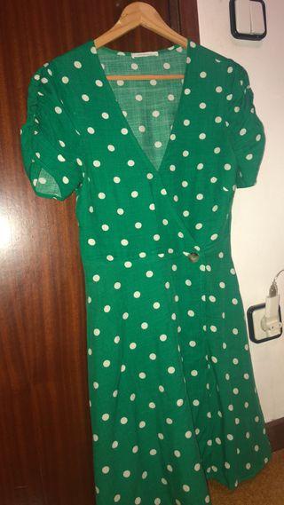 Vestido topos verde S