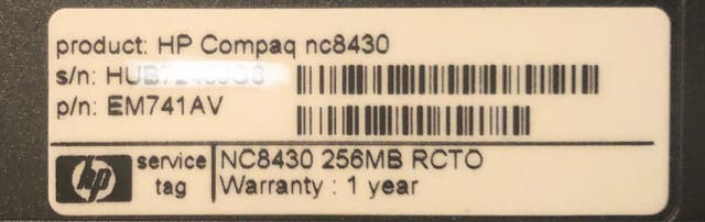Portátil HP Compaq nc8430