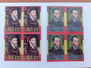 Bloques 4 sellos serie Carlos V