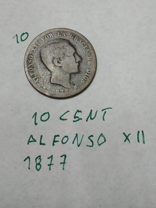 Moneda antigua de bronce del 1877.