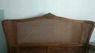 Cama matrimonio 135 cm madera nogal y rejilla