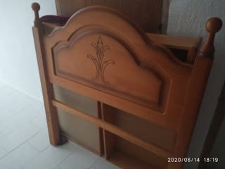 cabezal cama de 90 en pino y somier de laminas