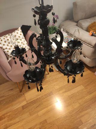 Lampara de araña negra 5 bombillas de Leroy Merlin