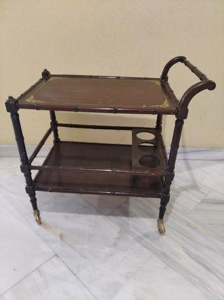 Carro mesa licorera madera vintage años 40/50