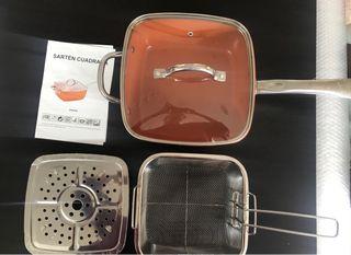 Sartén cuadradas cobre y accesorios