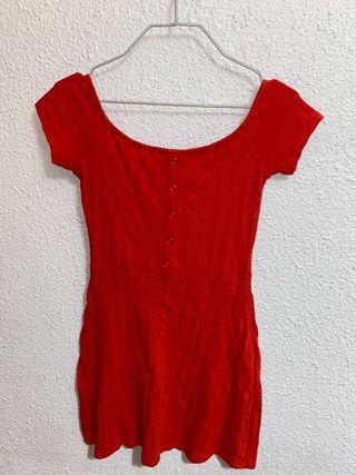 Vestido Bershka rojo/naranjoso