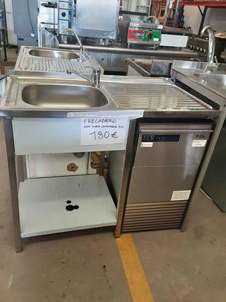 Fregadero inoxidable con hueco para lavavasos (1m)