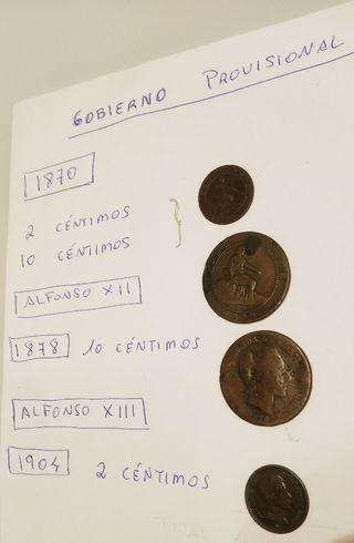 monedas gobierno provisional y Alfonso XII y XIII