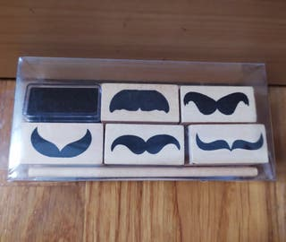 Set 5 sellos bigote + tinta negra