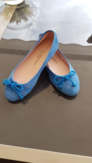 Bailarinas azulonas de ante
