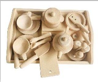 juego de té en madera