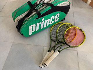 3 raquetas y raquetero Prince