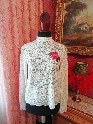 Camiseta NUEVA talla M encaje blanca rosa