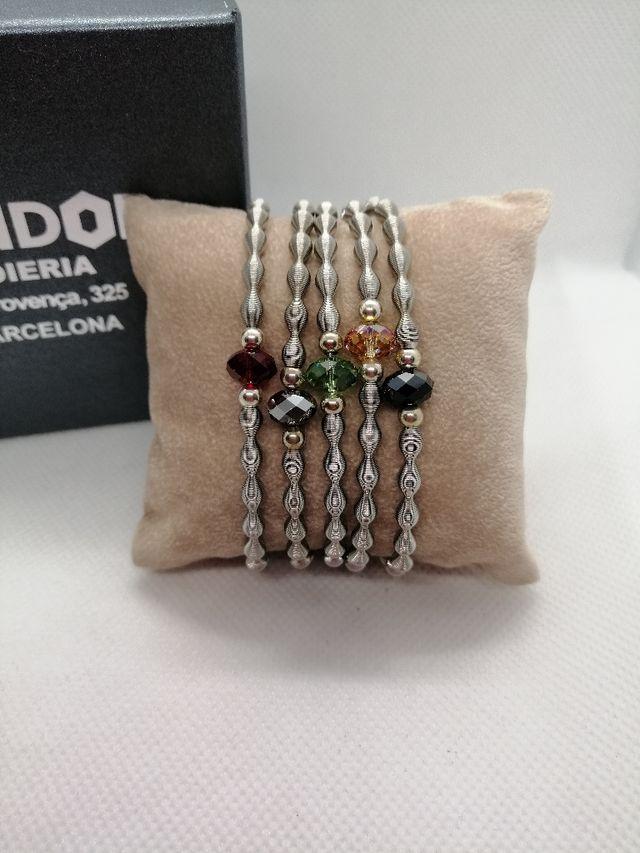 pulseras elasticas acero plata y swarosky