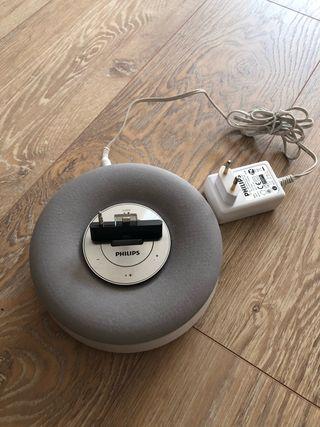 Base cargadora + reloj digital + altavoz Philips