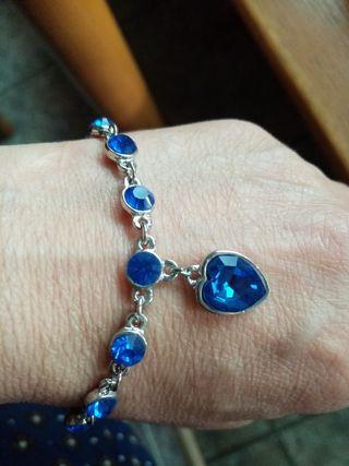 pulsera, color azul cielo, plata