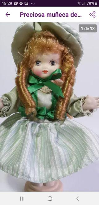 Preciosa muñeca de porcelana 25cm, vintage