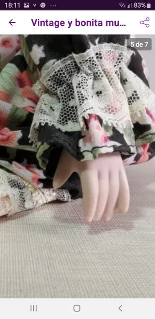 Vintage, Bonita muñeca de porcelana y trapo 45cm