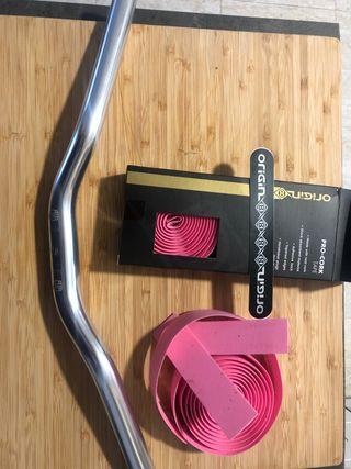 Manillar doble altura + cinta rosa