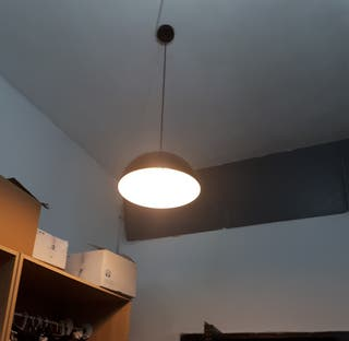 lampara colgante metalica con bombilla de globo