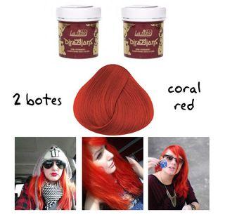 LOTE 2 BOTES Tinte de Cabello Pelo Rojo Coral Red