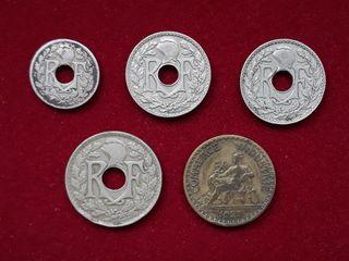 5 monedas Francia 1921-1936