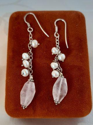Pendientes vintage de plata 925 perlas y cuarzo ro
