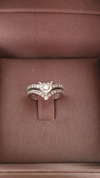 Anillo de oro blanco con diamantes y certificado