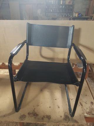 sillón director piel negro