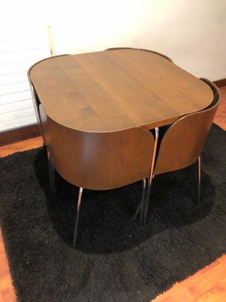 Mesa comedor madera silla nido