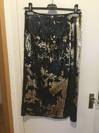 Falda midi fiesta lentejuela negra Zara