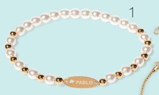 Pulsera chapada oro 24 ct y perlas