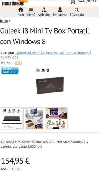 Guleek i8 mini un TV Box Portátil con Windows 8