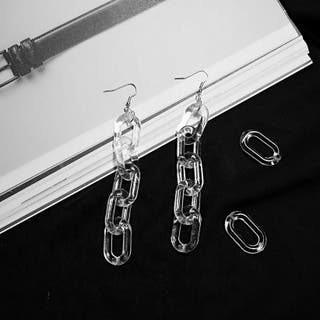 Transparency chain shaped drop earring