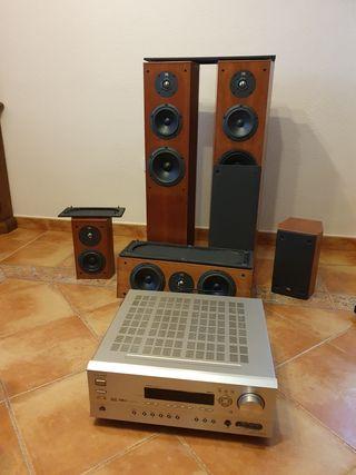 Equipo home cinema +amplificador +soporte altavoce