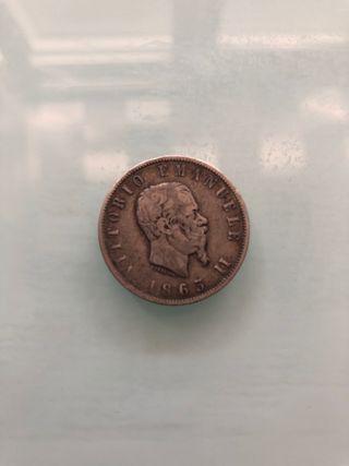 Moneda 2 liras 1863