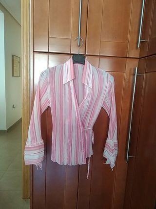 preciosa blusa cruzada gasa plisada tipo Fortuni M