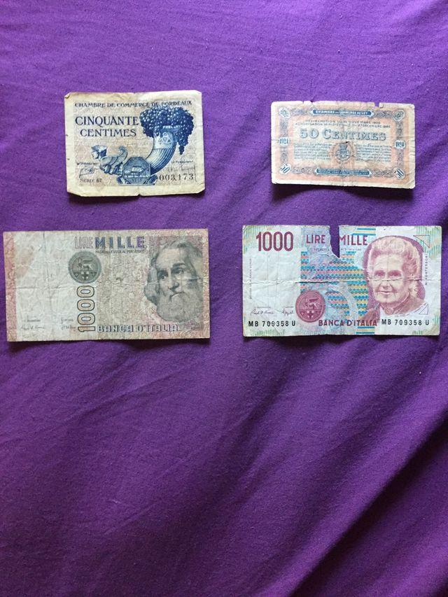 Billetes antiguos de varios paises